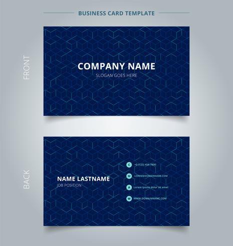 Modèle de cube abstrait carte nom de l'entreprise sur fond bleu foncé. Lignes géométriques numériques maille carrée. Identité graphique et identité graphique.