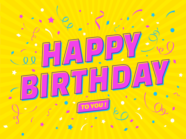 Gelukkige verjaardag Popart typografie
