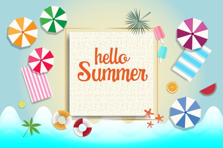 Banner de venta de verano y el fondo. Concepto de vacaciones y vacaciones.