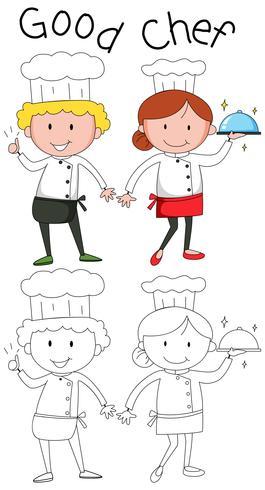 Doodle chef charcater sobre fondo blanco vector