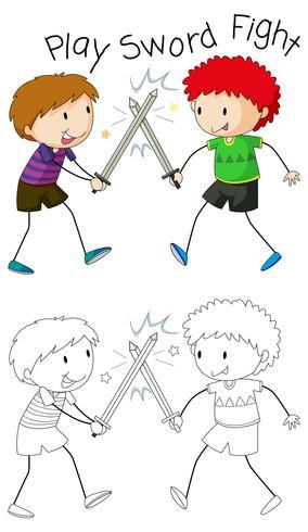 Doodle niños jugando lucha de espadas vector