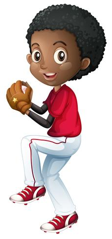 Un jugador de beisbol africano vector