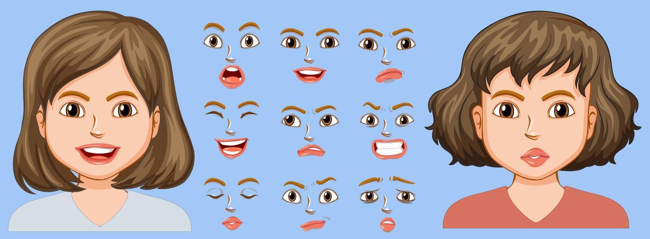 Menina, com, diferente, expressão facial