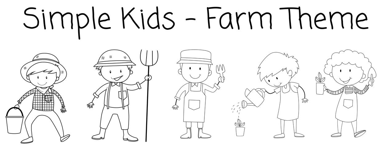 Set van doodle boer karakter