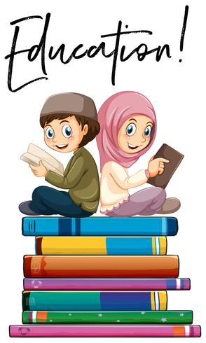 Education boy and girl reading