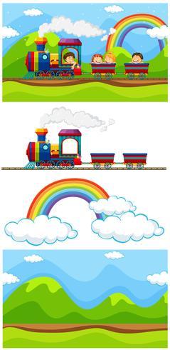 Scena con bambini sul treno