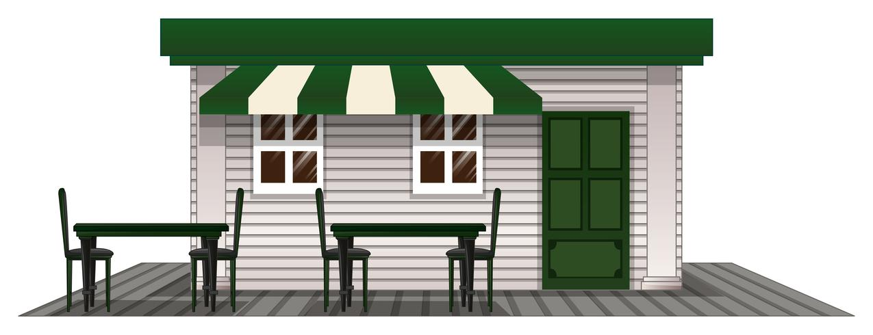 Coffee shope with green door and roof
