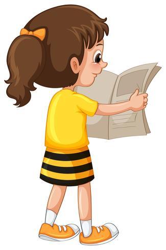 Little girl readin newspaper