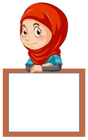 Una linda chica musulmana y una pancarta de pizarra vector