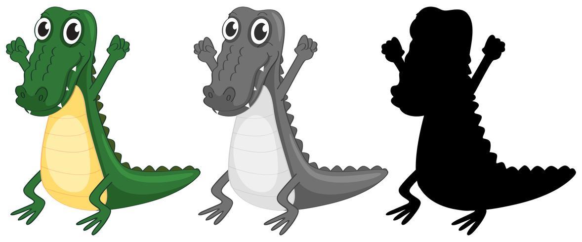 Set van krokodil karakter ontwerp