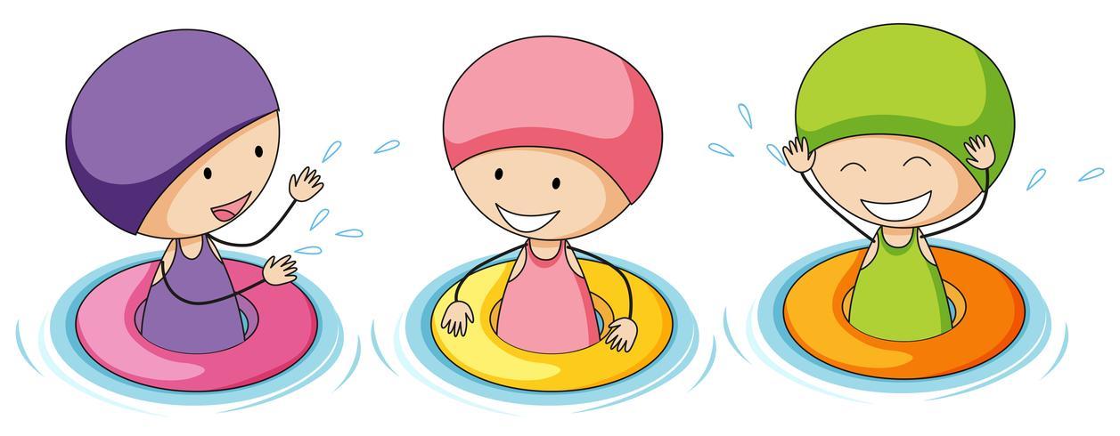 Doodle niños jugando en el agua vector