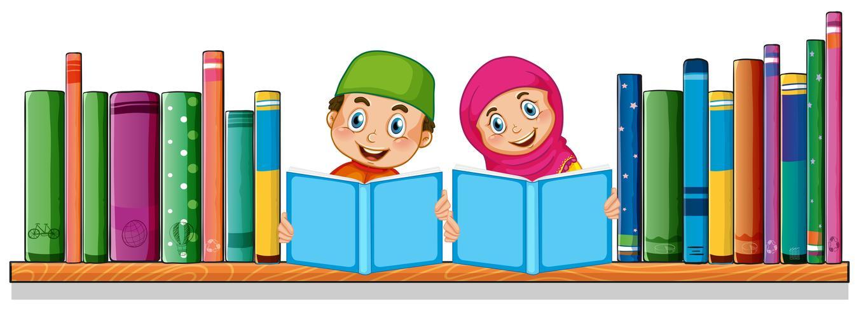 Estudiante musulmán leyendo libro vector