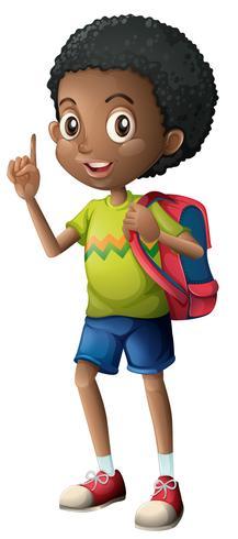 Un niño africano con mochila. vector