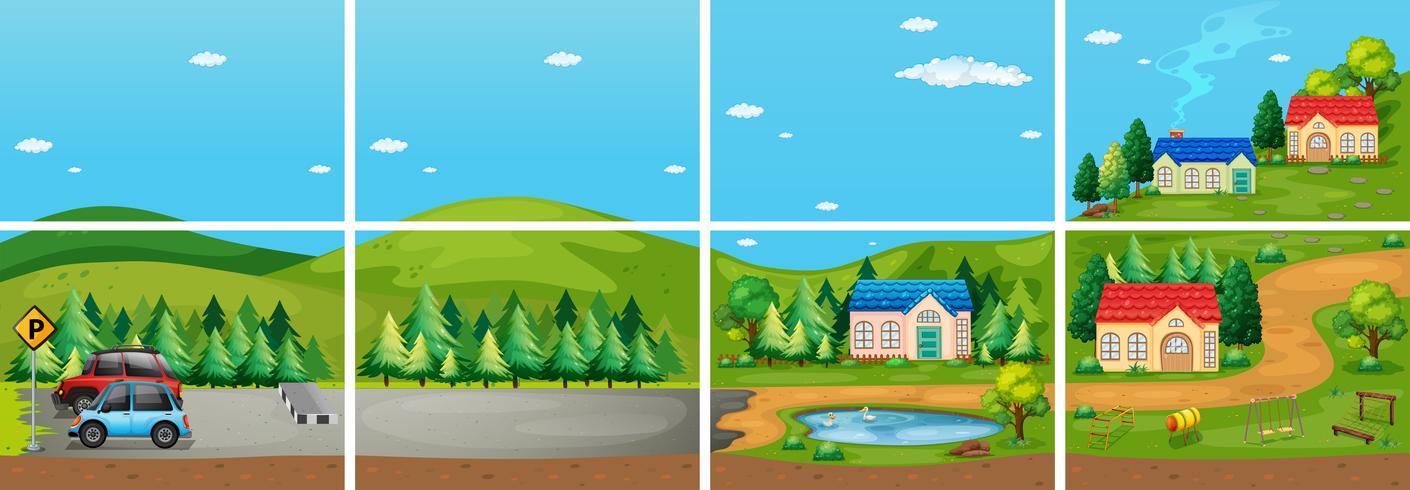 Conjunto de diferentes escenas del campo. vector