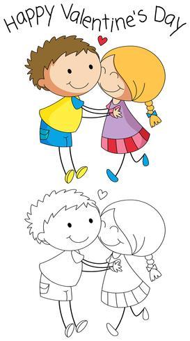 Doodle pareja en el día de san valentín vector