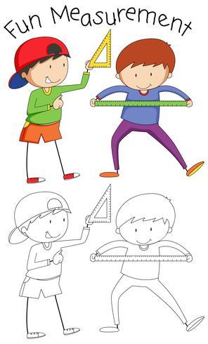 Doodle boy con herramientas matemáticas vector