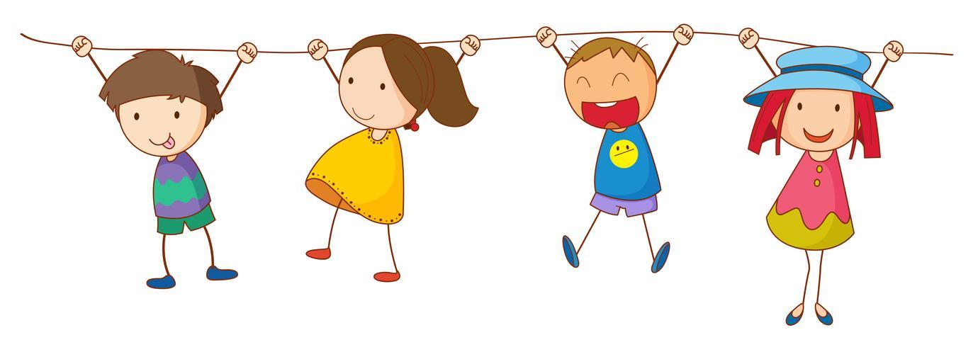 Doodle niños colgando en la línea vector