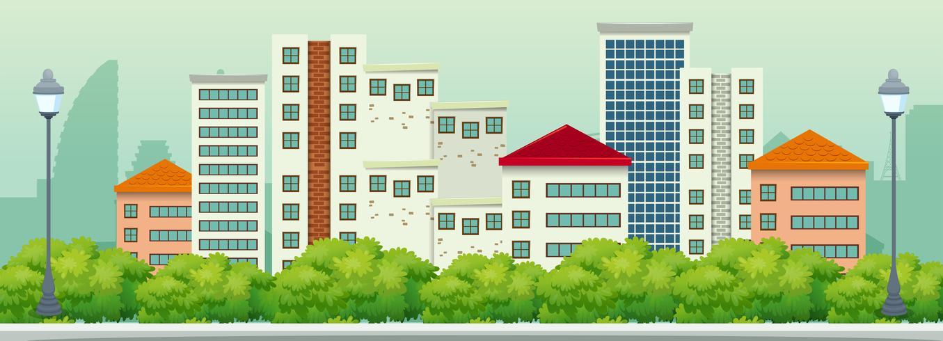 Una vista panorámica de la ciudad urbana. vector
