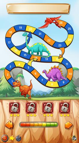 Modèle de jeu avec des dinosaures sur la falaise