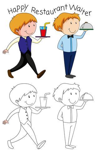 Doodle feliz camarero de restaurante vector