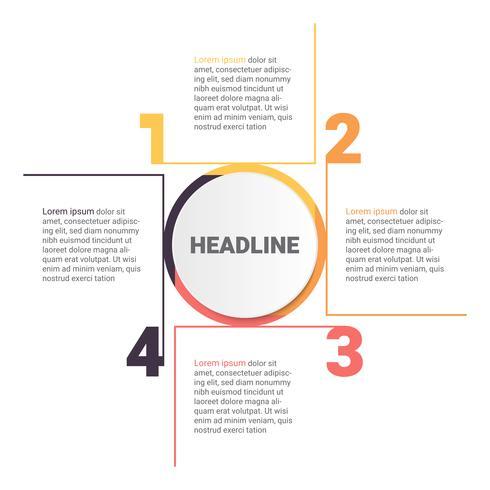 Diagrama de infografia com 4 etapas, opções ou processos. Modelo de negócio de vetor para apresentação. visualização de dados de negócios.