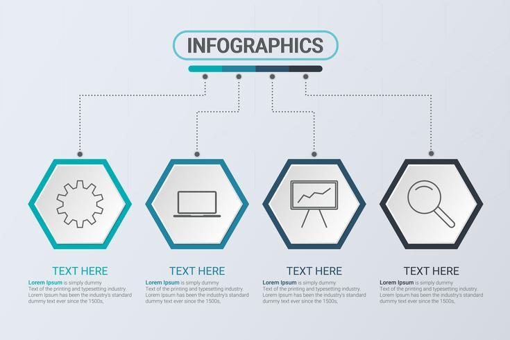 Infografía de cuatro pasos. Estrategia de flujo de trabajo o trabajo en equipo. Plantilla hexagonal de negocios con opciones para folleto, diagrama, flujo de trabajo, línea de tiempo, diseño web vector