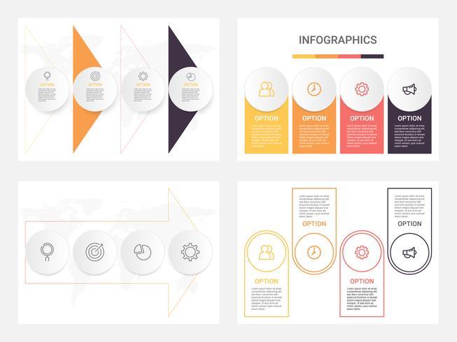 Conjunto de modelos de infográfico de negócios com 4 etapas, processos ou opções. Infográfico moderno abstrato.