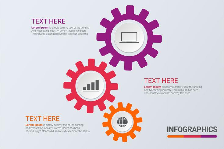 Infografía de tres pasos. Estrategia de flujo de trabajo o trabajo en equipo. Plantilla de engranajes de negocios con opciones para folleto, diagrama, flujo de trabajo, línea de tiempo, diseño web vector