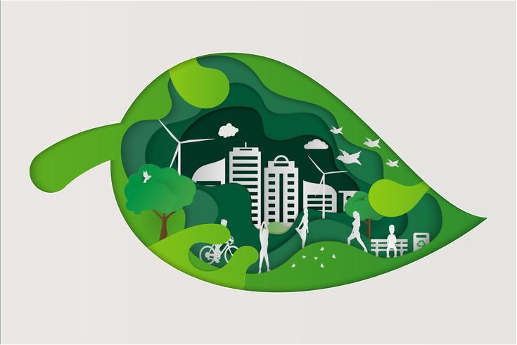 Spara Earth Planet World Concept. Världsmiljödagskonceptet. grön modern stadsstad på grön punktklot, ekologi koncept.