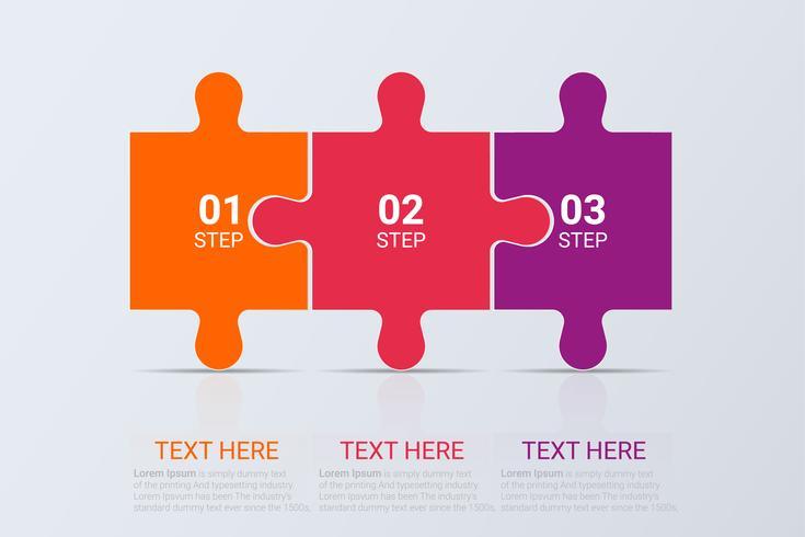 Infografía de tres pasos. Plantilla de negocio de vector para la presentación y formación.