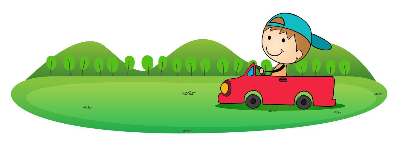 chico y carro vector