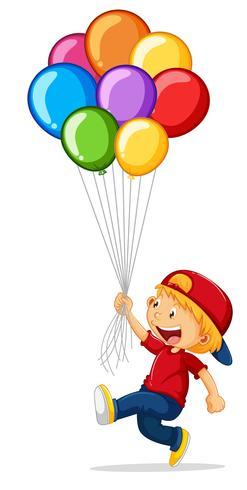 Kleiner Junge, der bunte Ballone hält