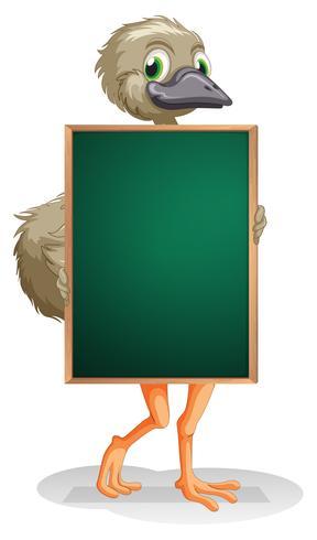 Een struisvogel die een leeg bord houdt