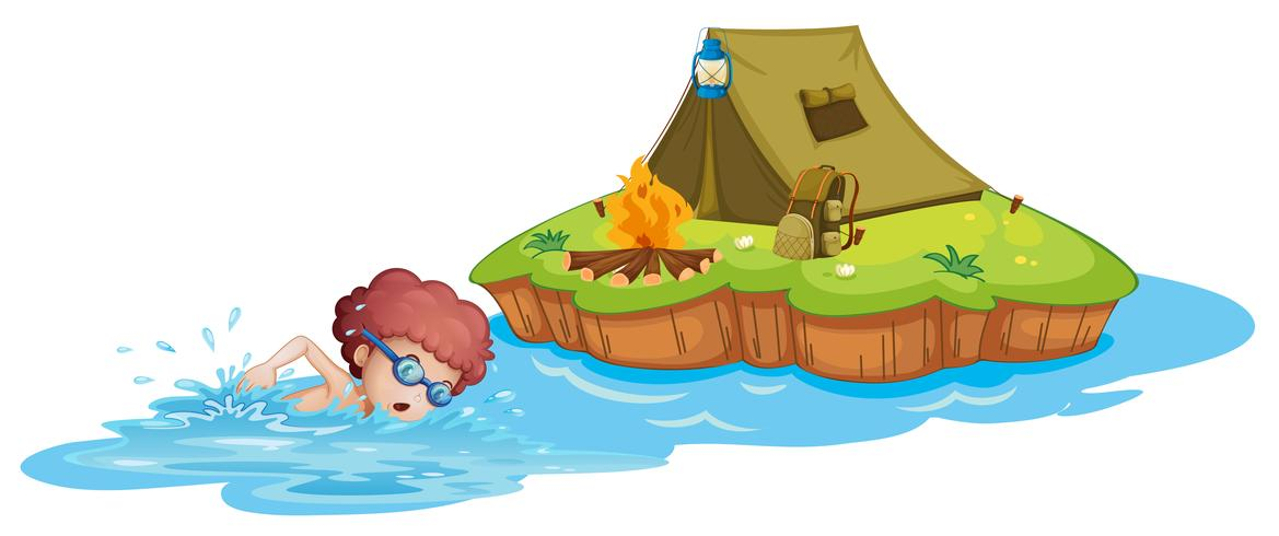 Un niño que va al camping.