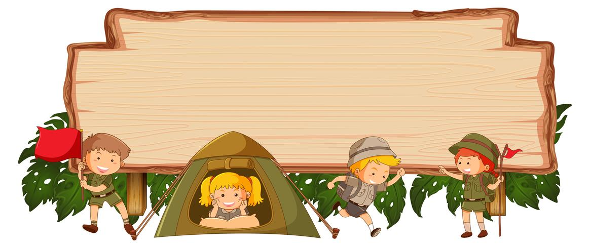 Camping kids on wooden banner vector