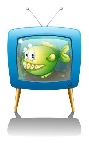A blue television with a fish