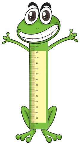 Medición de escalas de altura sobre papel con rana. vector