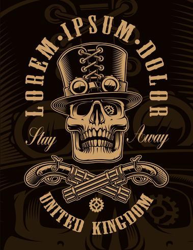 Ilustración en blanco y negro del cráneo steampunk vector