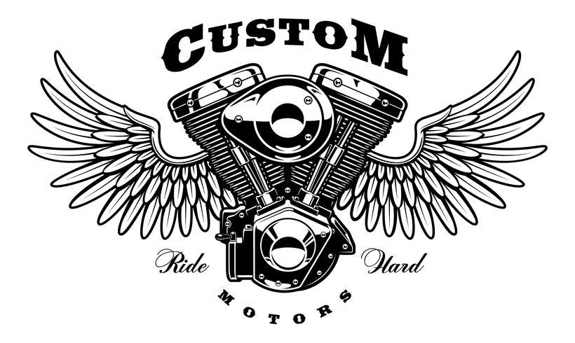 Motor vintage de moto con alas. vector