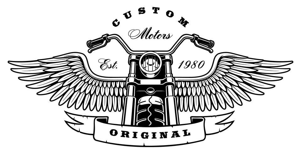 Vintage motorcykel med vingar på vit bakgrund
