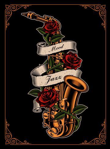 Illustrazione vettoriale di sassofono con rose e nastro