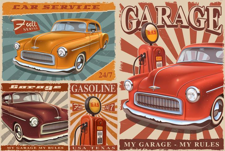 Conjunto de carteles de coches de época. vector