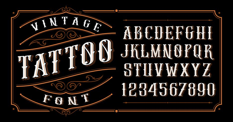 Vintage Tattoo Font.  vector