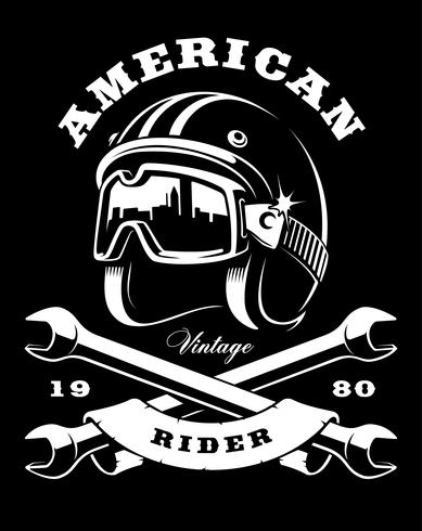 cafe racer helmet with wrenches on dark background