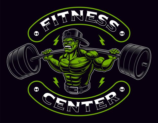 Coloured badge of a bodybuilder with barbell on the dark background. vector