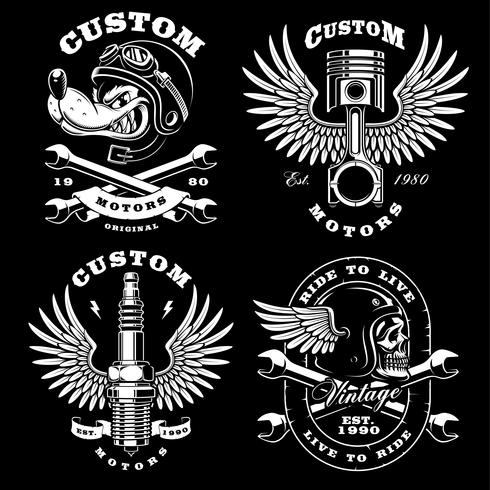 Ensemble de 4 illustrations de motards vintage sur fond sombre_2
