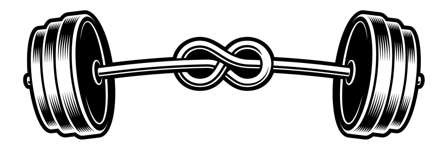 Ilustración en blanco y negro de una barra doblada vector