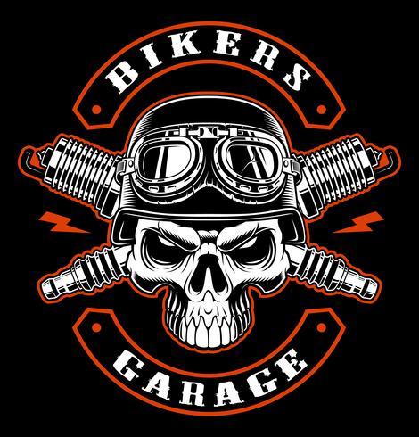 Biker  skull and crossed spark plugs. vector