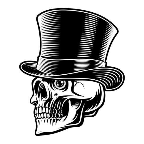 Ilustración en blanco y negro de una calavera en sombrero de copa vector