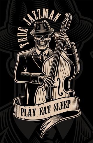 Ilustração vintage de músico de caveira com contrabaixo